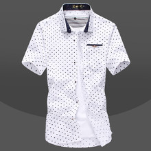 Brand New Men's Little Hearts Print Casual Shirt Social Solid Color Shirt Short Sleeve Turn Down Collar
