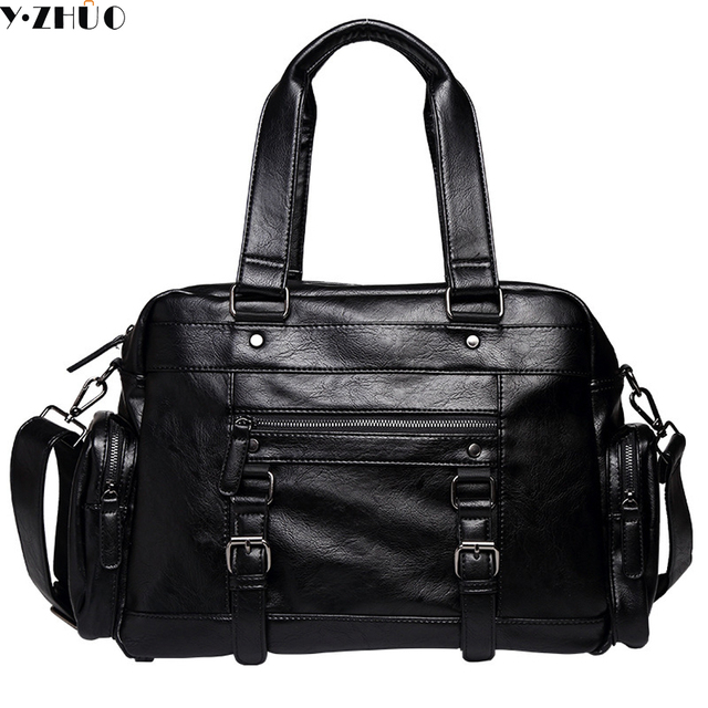 574119b798 New Fashion Leather Mens Travel Bags Large Capacity Waterproof Duffle Bag  Vintage Hand Luggage Shoulder Bag free shipping