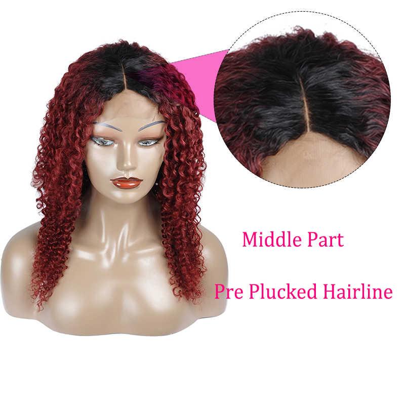 Стиль Me кудрявый парик бразильский 1B/99J красный Омбре короткие предварительно сорванные Детские волосы бордовый Боб кружева спереди человеческие волосы парики