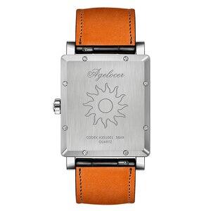 Image 5 - Agelocer 최고 브랜드 럭셔리 드레스 시계 빛나는 석영 시계 가죽 스트랩 시계 스틸 시계 3403a1