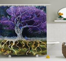 Tree Of Life Decor Shower Curtain Set Psychedelic Magical Mysterious Tree At Night With Birds And Fishes And Birds Life(China)