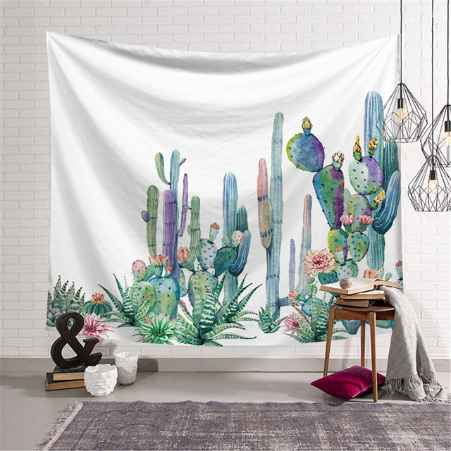 Cilected Watercolor Cactus Wall Tapestry Succulents Plant Fl Carpet Decor Large Hanging Art Cloth 148x200cm