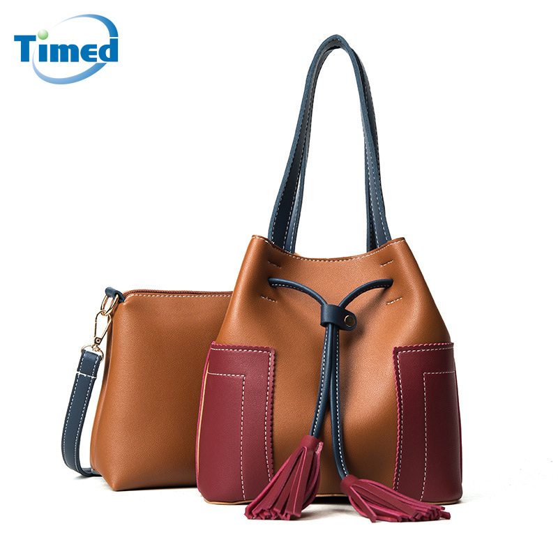 Women Leather Bags New Patchwork Color Block Lady Handbags Korean All-match Bucket Bag Shoulder Messenger PU Composite Bag 5 sets new arrived women leather handbags high grade shoulder bag all match fashion women messenger bags clutch lady bolsas 5set