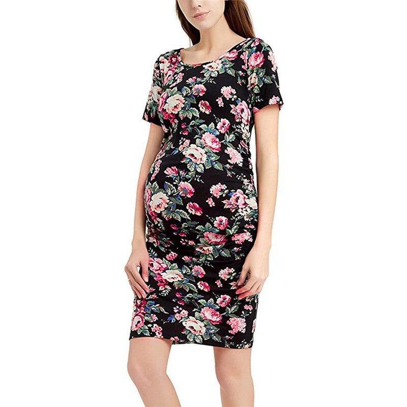 2d80662fb9 Aliexpress.com   Buy Women s dress Pregnancy Floral Print Dress Maternity  Short Sleeve Sundress Clothing Autumn Fashion Nursing Clothes for Pregnant  from ...