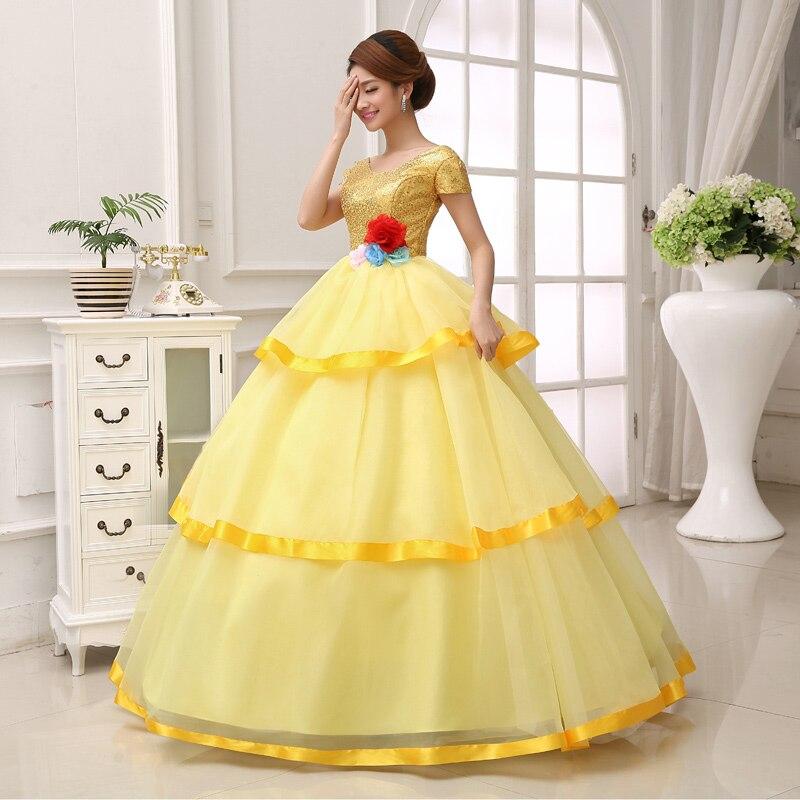 Free ship golden sequined flower waist ball gown fairy dress court ...