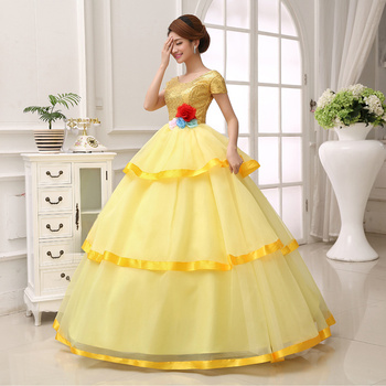 Free ship golden sequined flower waist ball gown fairy dress court princess Gown queen Victorian Belle /ball gown