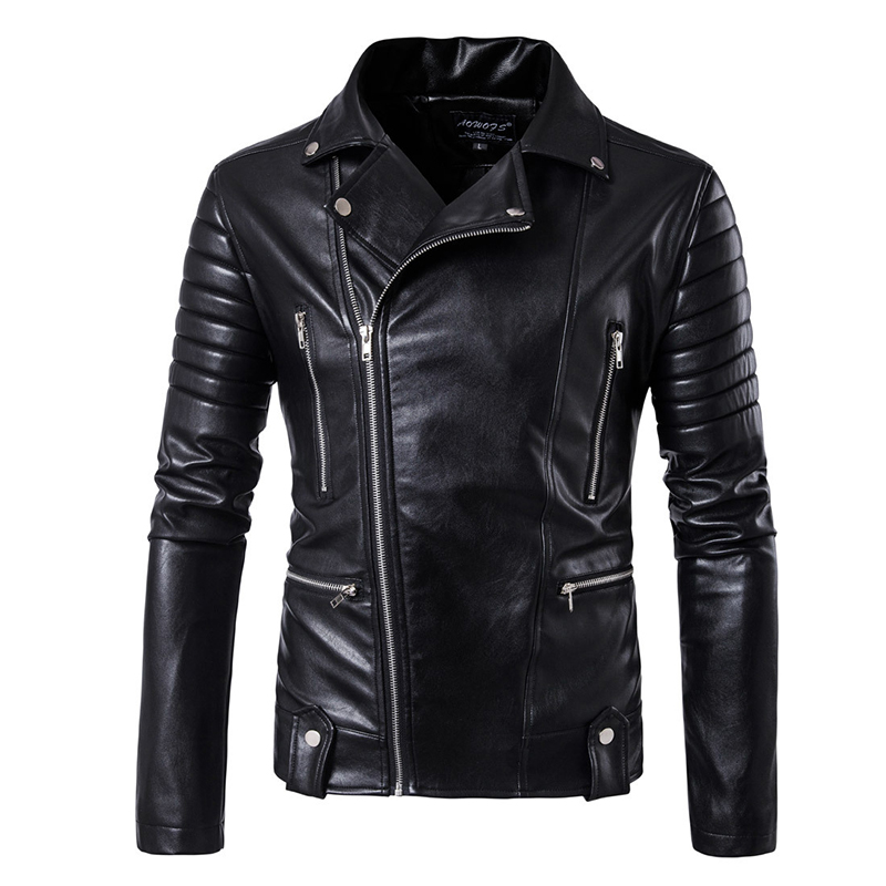 Puff sleeve business casual leather coat New winter Fashion leather jackets slim fit Men Classic leather jacket M 5XL size-in Faux Leather Coats from Men's Clothing