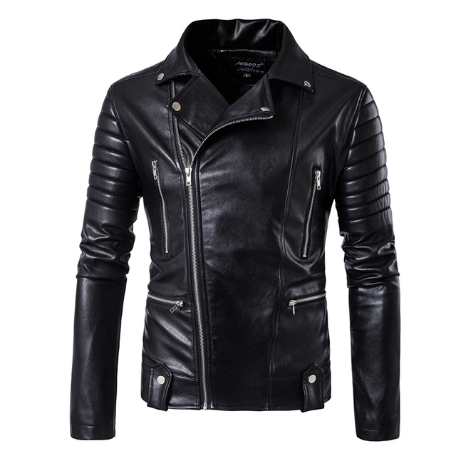 Puff sleeve business casual leather coat New winter Fashion leather jackets slim fit Men Classic leather jacket M 5XL size