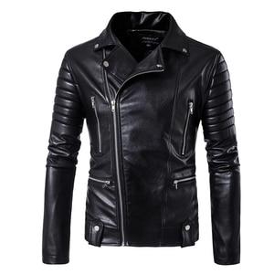 Image 1 - Puff sleeve casual abrigo de cuero nuevo invierno cuero de moda chaquetas slim fit hombres Cuero clásico chaqueta M 5XL tamaño