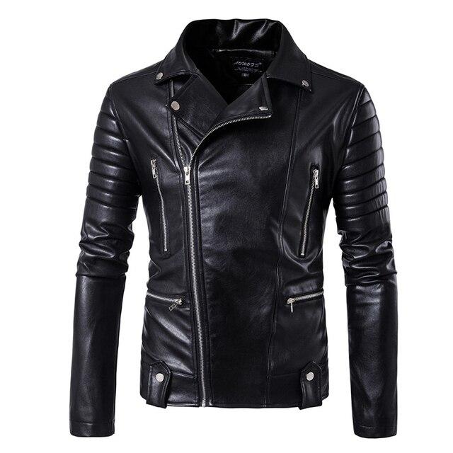 Puff sleeve casual abrigo de cuero nuevo invierno cuero de moda chaquetas slim fit hombres Cuero clásico chaqueta M 5XL tamaño