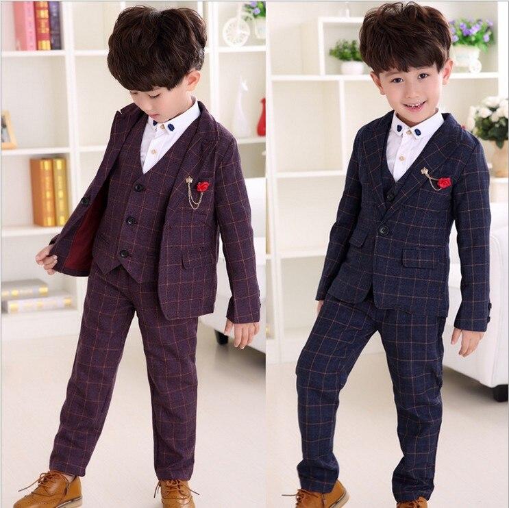 children clothes boys set plaid coatvest long pants suits for wedding toddler kids tuxedo suit for3 8t spring and autumn