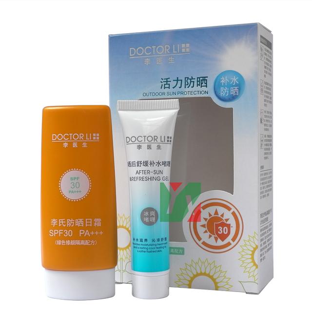HOT IN CHINA +++ MÉDICO LI para fora da porta de proteção solar creme SPF30 PA 30g + pós-sol refrescante gel 20g 2 pçs/set