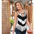 2016 Moderno Mujeres Sexy Fashion Summer Casual Sin Mangas de La Borla Sin Mangas Sling Blusa Camiseta de La Novedad Del Partido Blanco y Negro Fecha