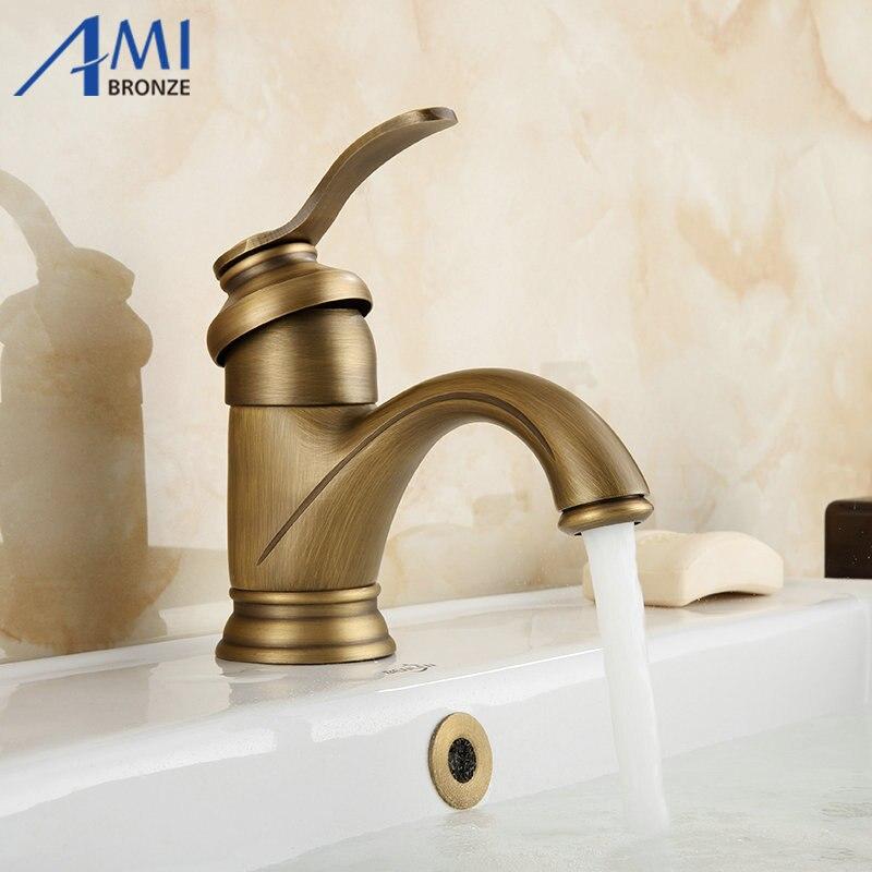 6 античная латунь кран Смесители для ванной комнаты кран раковина бассейна смесителя 9025A