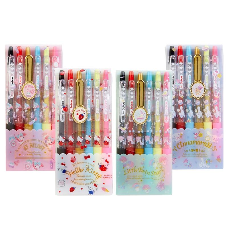 6PCS/set Japan Pilot Juice 0.5mm Gel Pen Six-color Suit Hand Account Pen For Office&School Pen