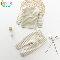 2018 Style High Quality 100 Organic Cotton Undershirt 0 24month Baby Kids Thermal Underwear Baby Boys