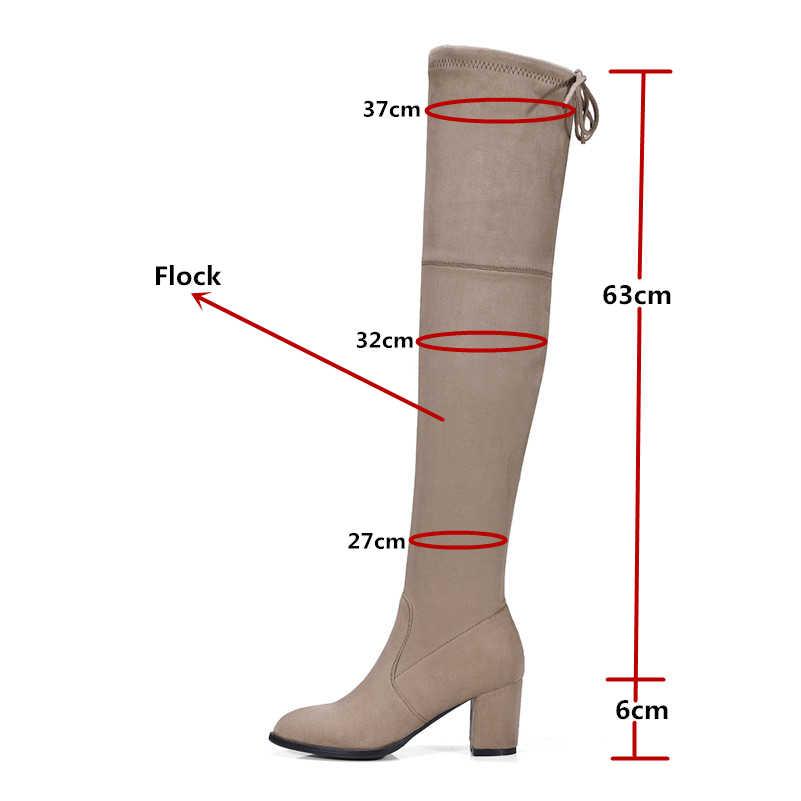 Женские сапоги выше колена FEDONAS, темно-серые теплые сапоги до бедра, обувь 34-43 размера на осень-зиму 2019