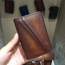 TERSE_3 colors Handmade leather card bag id card name card holder vintage style new release card wallet for man custom service