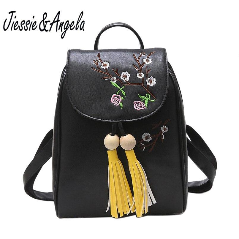 Jiessie & Angela Fashion Embroidery Rose Women Backpack Floral Teenage Girls School Bag High Quality Tassel Backpacks Sac A Dos