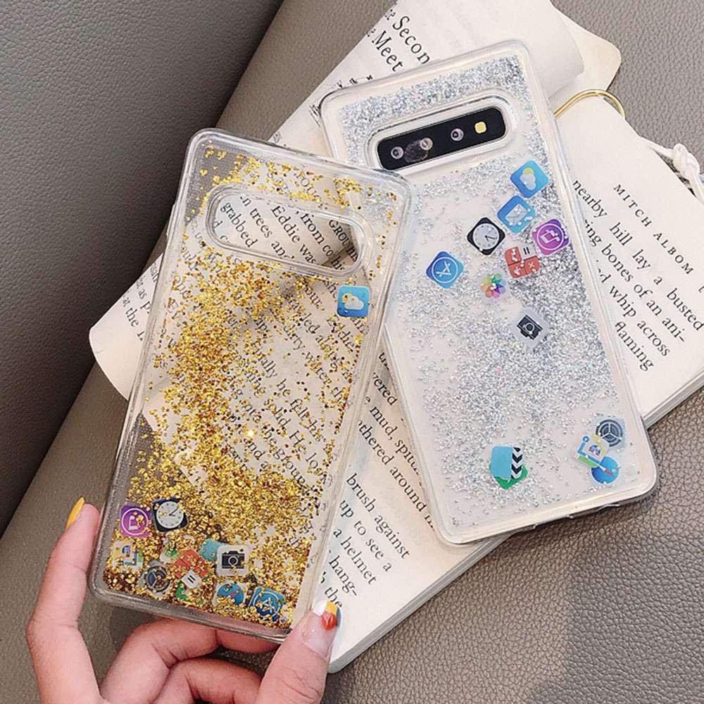 Image 5 - KISSCASE Блестящий жидкий зыбучий песок силиконовый чехол для samsung Galaxy S10 Plus приложение значок чехол для samsung S10 Lite чехол Funda-in Подходящие чехлы from Мобильные телефоны и телекоммуникации