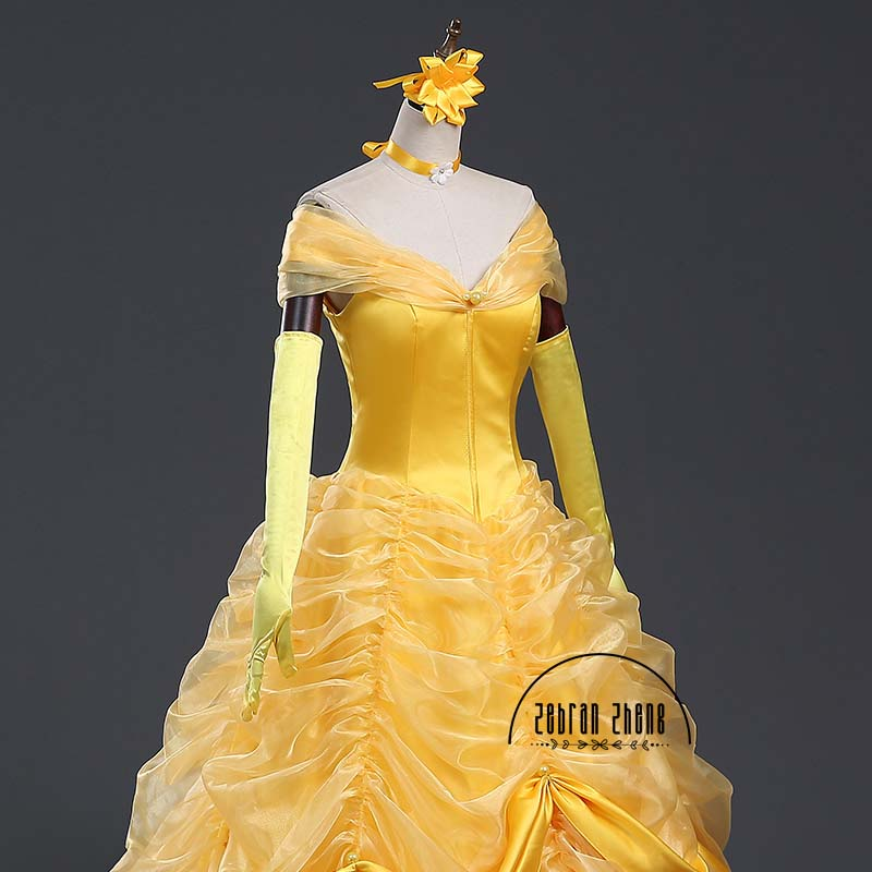 9cd17a4446e New Style Beauty And The Beast Dress Princess Belle Luxury Top Quality  Cosplay Costume Dress For Women Halloween Costumes on Aliexpress.com
