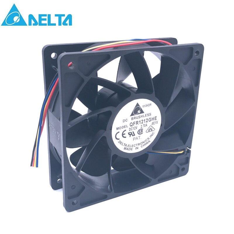Delta QFR1212GHE QFR1212GHE-PWM 4 P 12 V 2.7A servidor 12038 ventilador de refrigeración de 74Y5220 120*120*38mm bitcoin Miner
