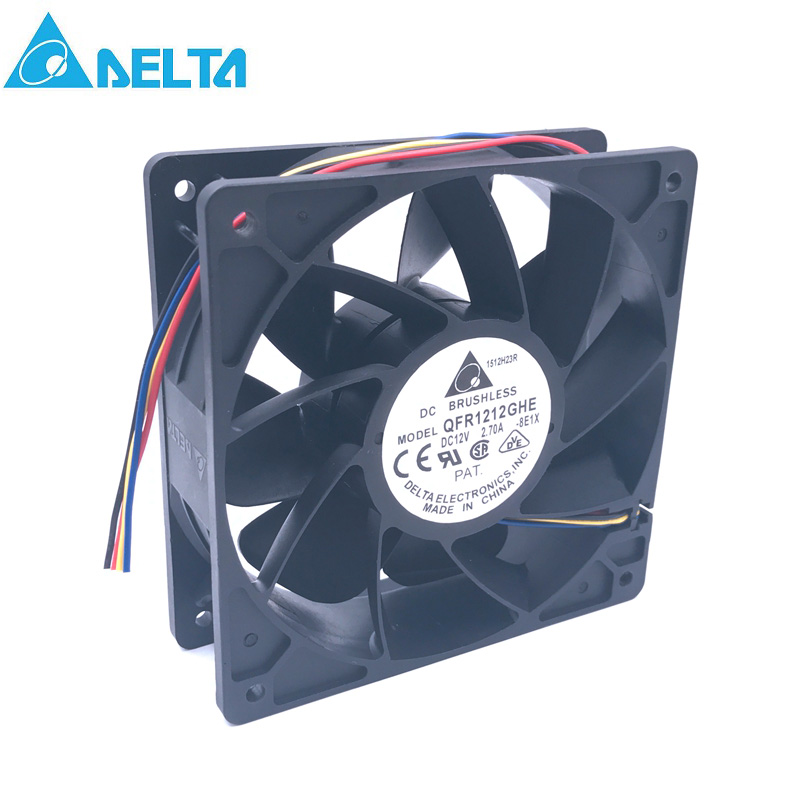 For Delta QFR1212GHE QFR1212GHE-PWM 4P 12V 2.7A 12038 Server Cooling Fan 74Y5220 120*120*38mm For Bitcoin Miner