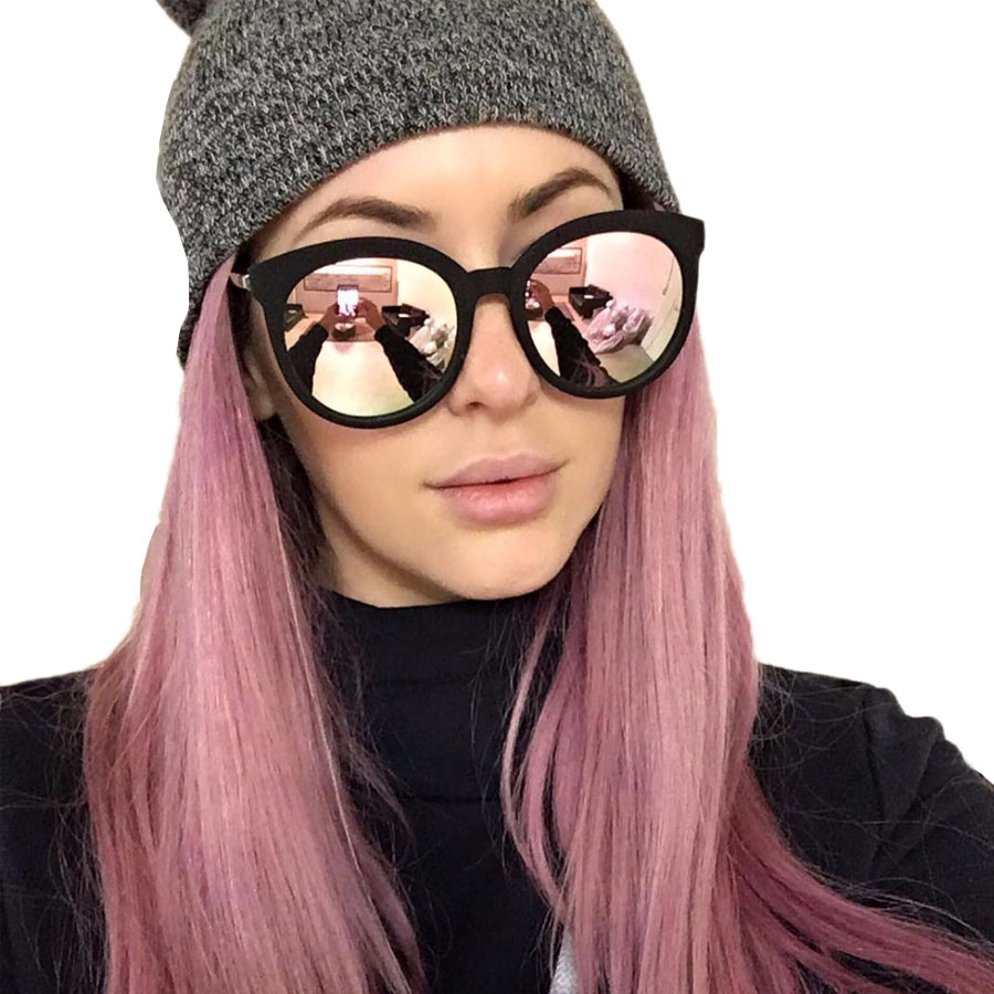 lunette femme women luxury brand sunglasses cat eye ladies pink rose gold sunglasses women 2016. Black Bedroom Furniture Sets. Home Design Ideas