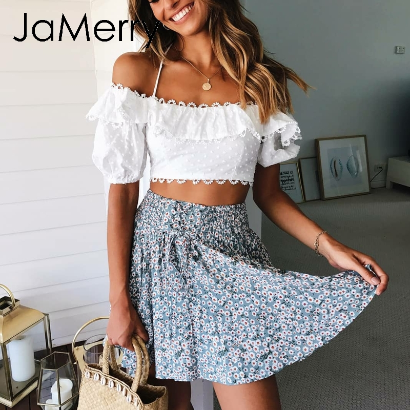 916f21288ff JaMerry Vintage off shoulder white embroidery two piece set romper Women  polka dot jumpsuit playsuit Summer beach holiday suit-in Rompers from  Women s ...