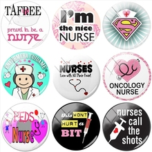 TAFREE Cartoon Nurse Figure 25mm DIY Glass Cabochon Dome Doctors Stethoscope Syringe Picture for DIY Keychain Necklace Charms cheap Other 0 5cm 2 5cm Jewelry Findings CT191-SN07 Handmade Giftwrap bags