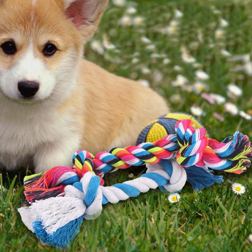 Double knot cotton linen rope dog chewing toy rope polish