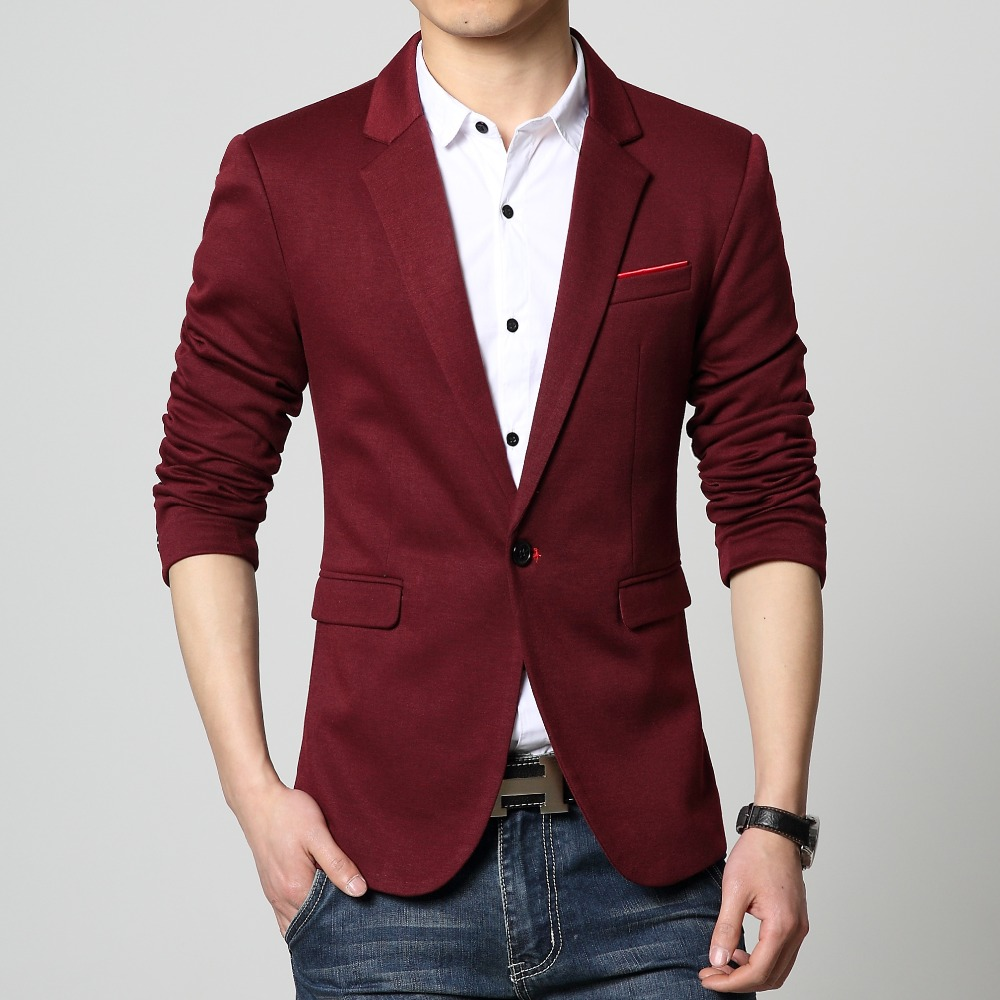 Mens casual blazer Knitted slim fit coat Male clothing ...