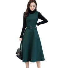 dress suit women new 2018 fall and winter design long thickening tank & black basic sweater two-piece vestido set