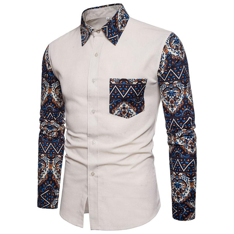 Long sleeved Casual Social Shirts Men Slim Flower Blouse Men Plus size Mens dress Shirts Linen New Khaki Navy in Casual Shirts from Men 39 s Clothing