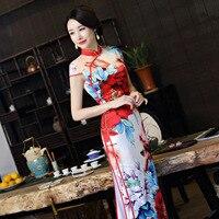 New Spring Vintage Print Chinese Traditional Women Satin Dress Sexy Long Slim Mandarin Collar Qipao Flower Cheongsam M 3XL