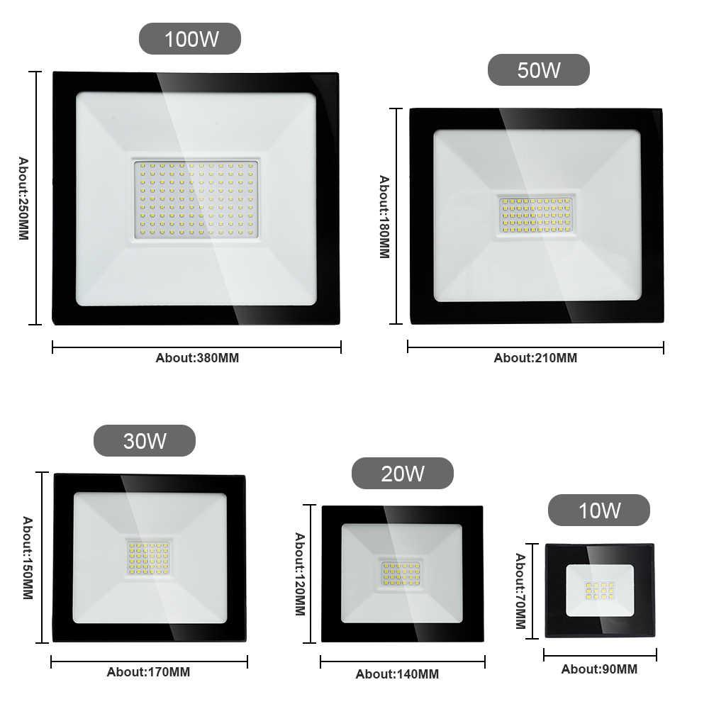 2018 LED Flutlicht 50 watt 110 v 220 v Flutlicht 10 watt 20 watt 30 watt Led-strahler Reflektor LED Außen Beleuchtung Garten Lampe Neueste