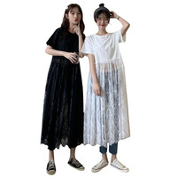 Fashions Patchwork Lace Tshirt Dress Summer Short Sleeve Black White Dress Casual Solid Women Long Dresses Female Clothing