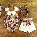 2017 del verano del bebé que arropan el sistema girls vintage impreso floral ruffle cuello halter correa del mameluco con arco nudo shorts y diadema