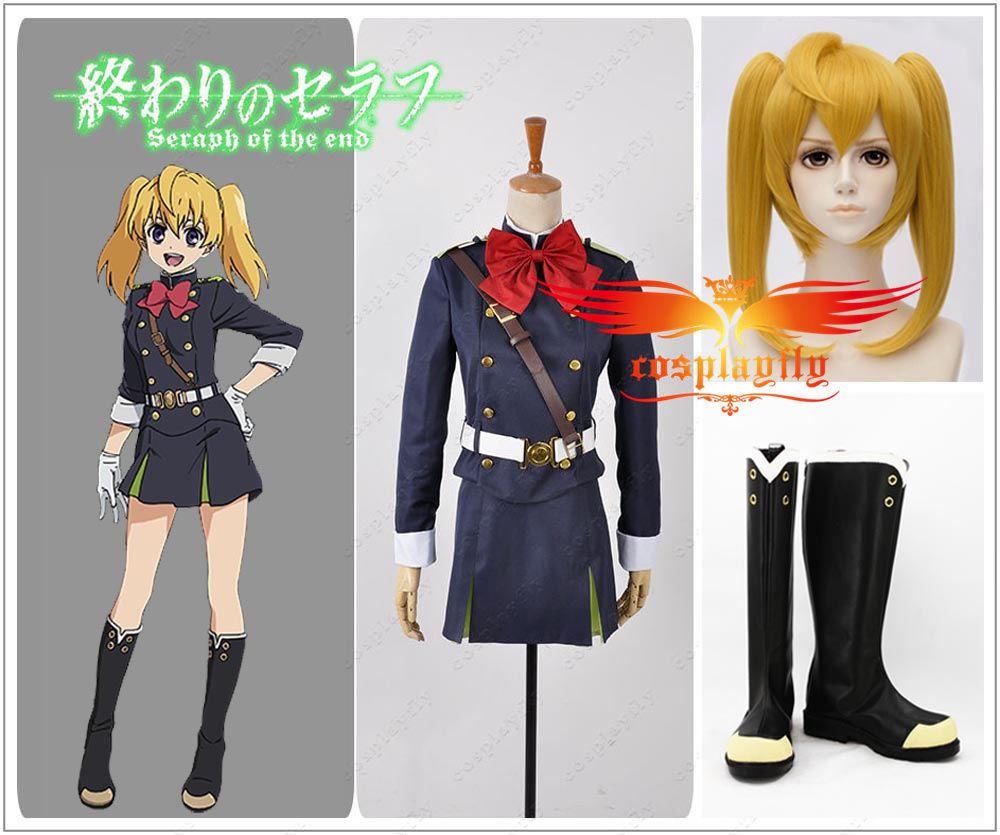 Seraph of the End Mitsuba Sangu Cosplay Costume  Adult Women Cloth Shoes Boots Wig and Free Wig Cap Full Set  (W0667/J0142)