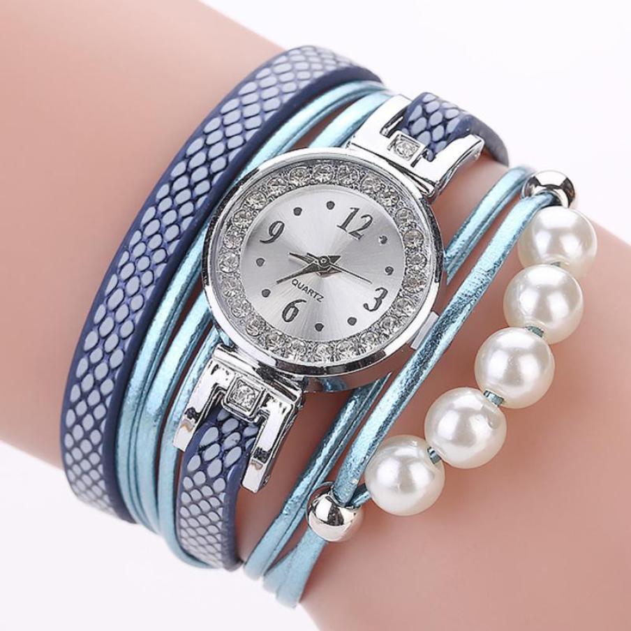 2018 Selling fashion watches wristwatches clock Quartz Women Fashion Casual Analog Quartz Wing Rhinestone Pearl Bracelet Watch рыжий кот пазл ладья рыжий кот 1000 деталей