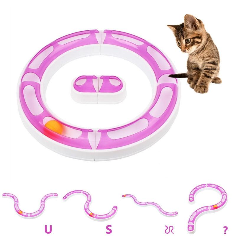 New Fun Cat Pet Baby Track Orbit Ball Plastic Toys Senses Play Chase Game ...