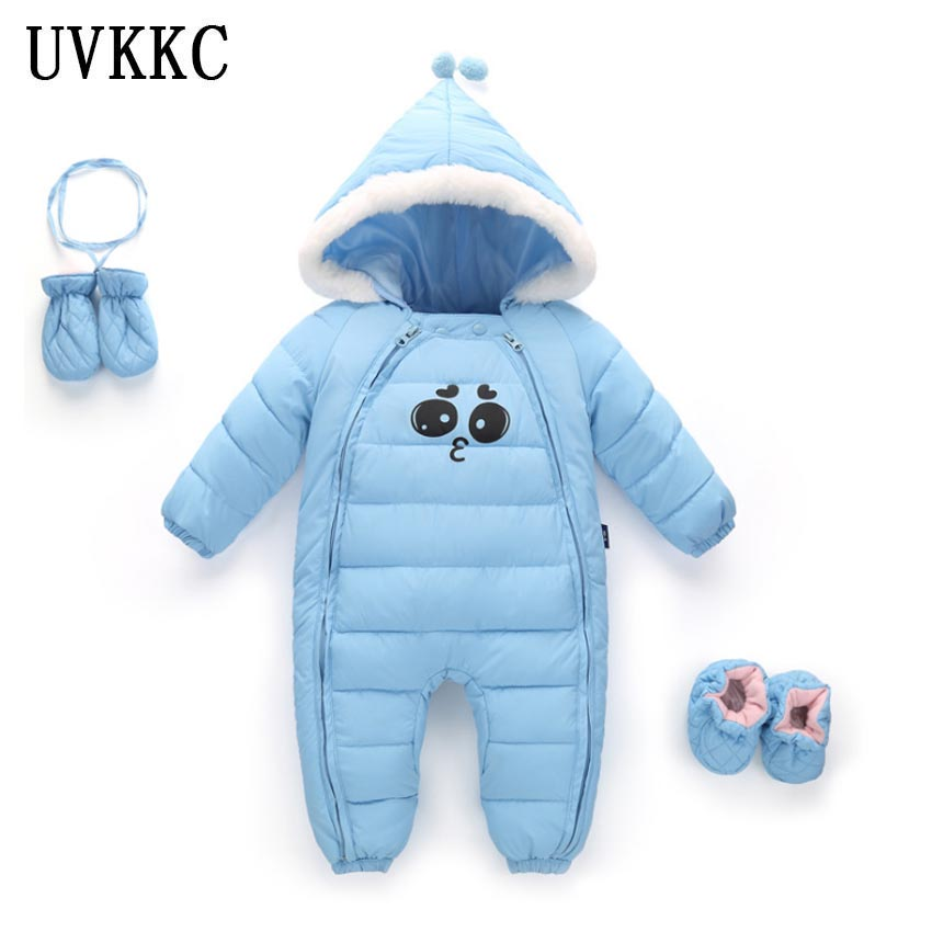 UVKKC Baby rompers newborn jumpsuits winter autumn long sleeve cotton hooded gloves foot set baby girls boys clothes baby clothes new hot 100% cotton winter and autumn baby rompers baby clothing boys girls infant newborn kids long sleeve clothes