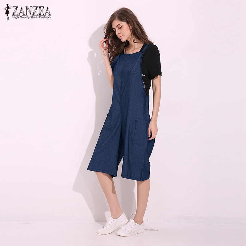 2018 ZANZEA Rompers Womens Jumpsuit Sexy Vintage Sleeveless Adjustable Strap Wide Leg Pants Denim Solid Overalls Plus Size