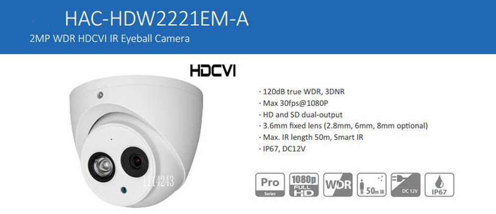 Free Shipping DAHUA Security Camera 2MP FULL HD WDR HDCVI IR Eyeball Camera IP67 Without Logo HAC-HDW2221EM-A dahua security camera cctv 2mp full hd wdr hdcvi ir bullet camera ip67 without logo hac hfw2221s