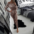 2017 Fashion women elegant sexy off shoulder velvet strapless long sleeve hole jumpsuit rompers outfit combinaison femme