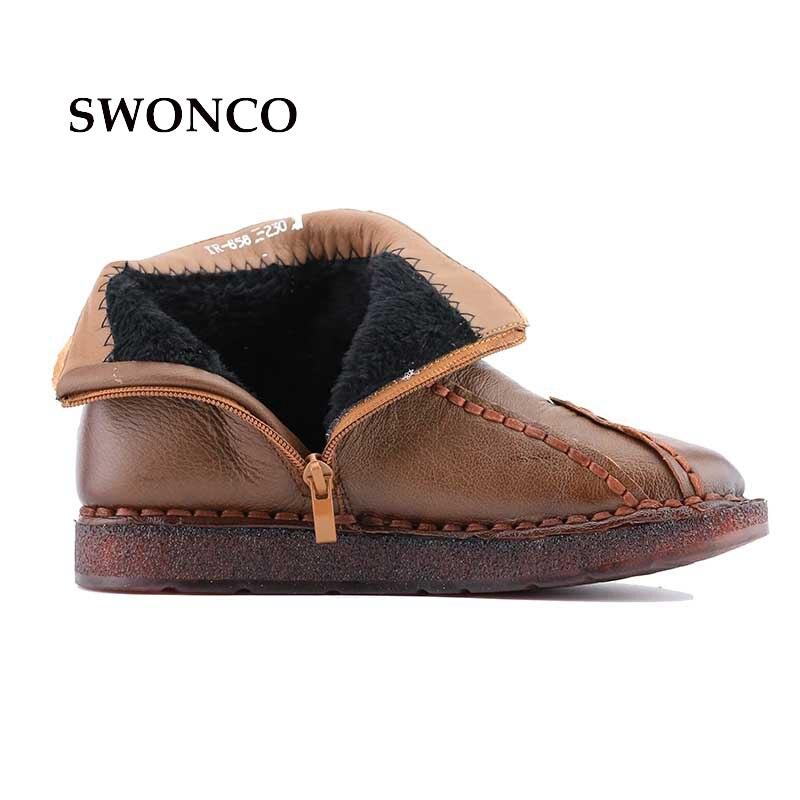Véritable De Noir En Femmes marron Cuir Plate Snowboots forme Chaussures Bottes Fourrure Verni Swonco Noir Dame Cheville Hiver pourpre 4AR3L5jq