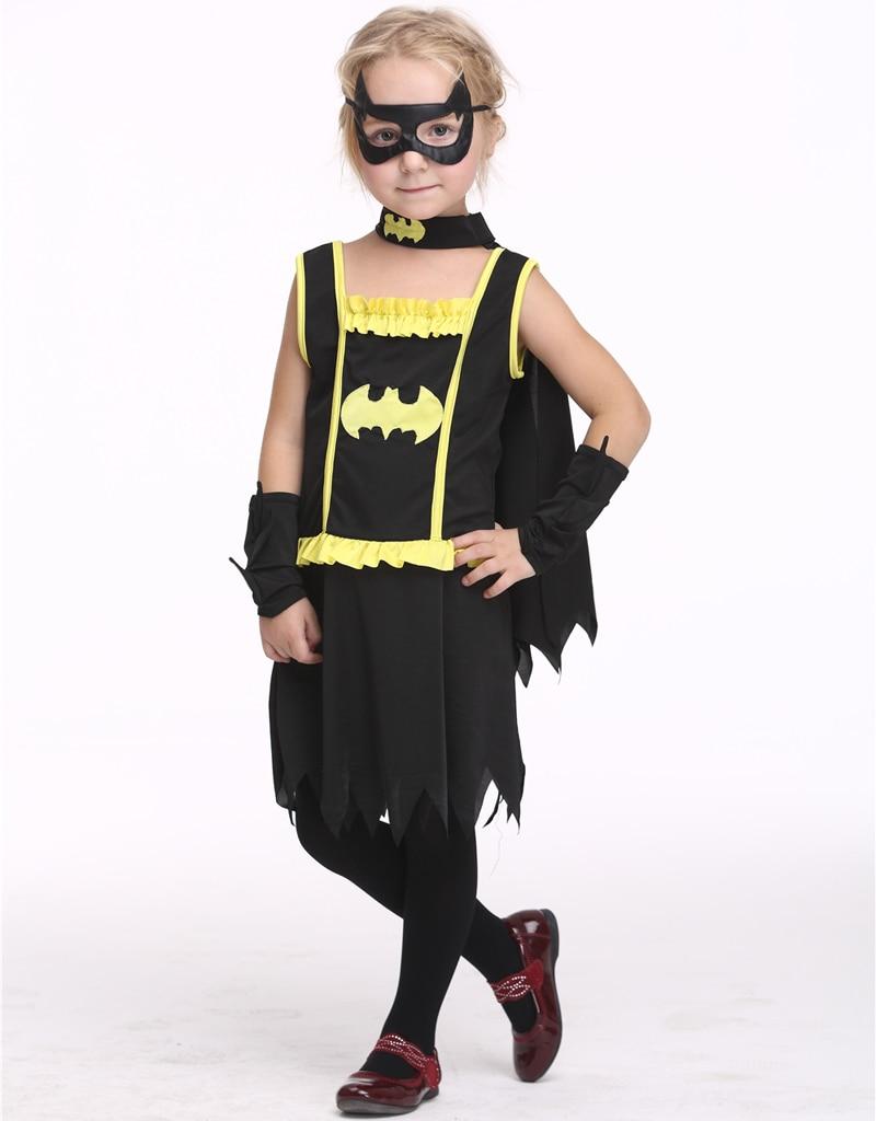Kids Super Hero Batman Cosplay Girls Halloween Batgirl Dress Carnival Masquerade Party Skirt Batman Cloathing Suit Batman Cloak