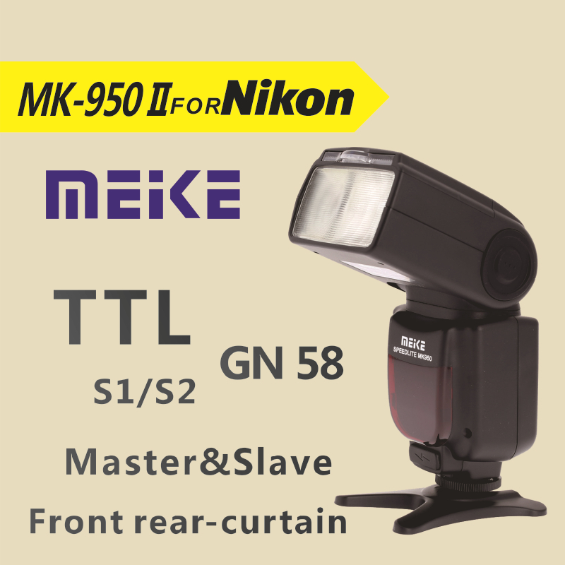 Meike MK950 II-N i-TTL Flash speedlite camera flash mk950II for Nikon D7100 D7000 D5200 D5100 D5000 D3100 D3200 D600 D90 D80 D60 meike mk 950 mark ii ttl slave wireless flashgun speedlite flashlight for nikon
