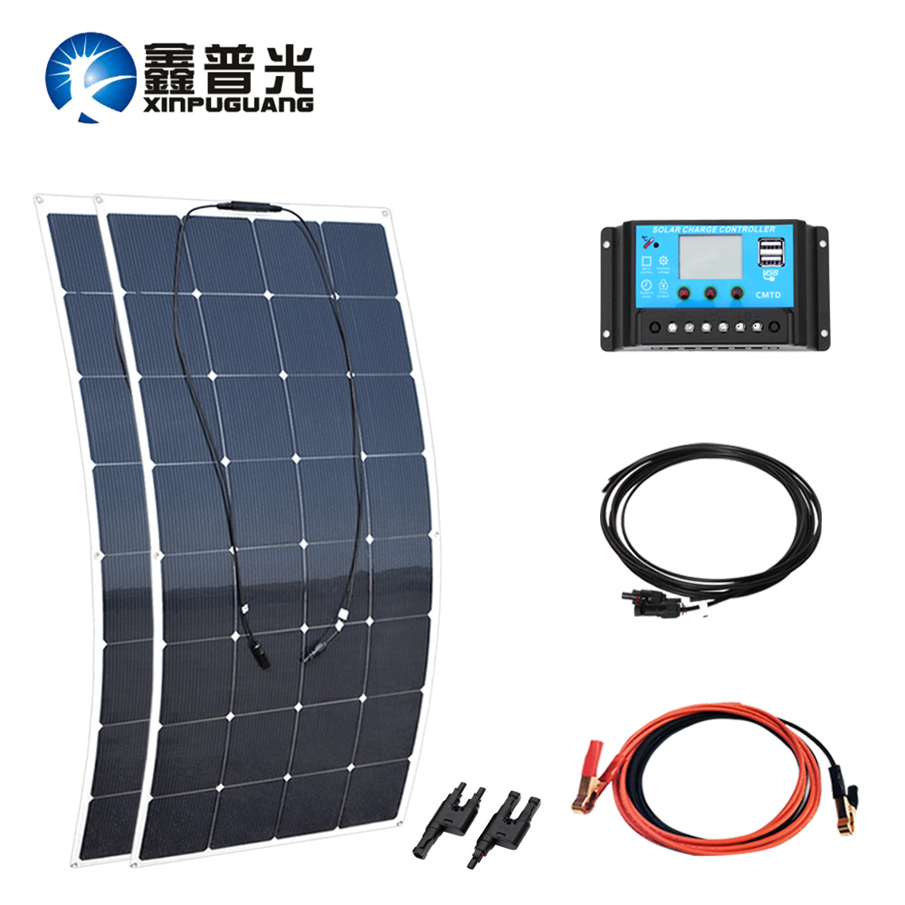 320w solar system 160w flexible soalr panel monocell PV module 30A connector MC4 connector cable adapter for 12v battery charger flexible solar panels 25w for boats with connection box 0 9m cable mc4 connector 12v