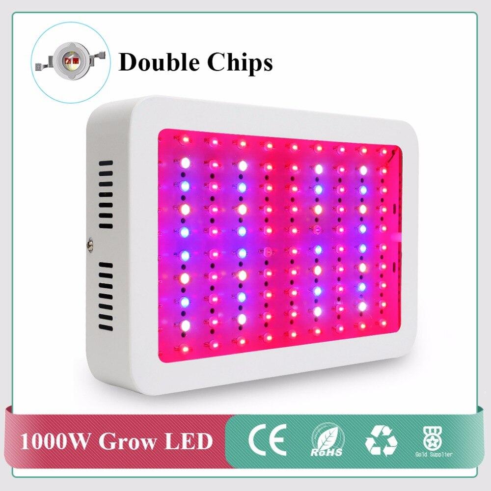 Полный спектр растет свет 1000 Вт двойной чип красный/синий/белый/uv/ИК для гидропоники и комнатных растений